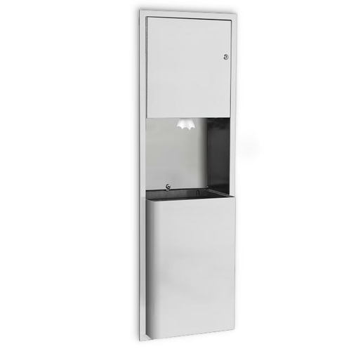 AJW U659CP-SM Center-Pull Towel Dispenser & Waste Receptacle Combination w/ Extended Waste - Surface Mounted