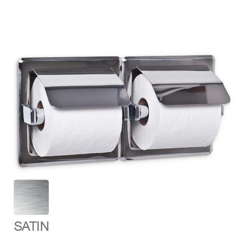 AJW UX76-SF Dual Satin Hooded Toilet Tissue Dispenser - Recessed