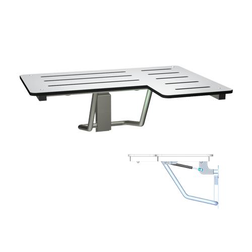 ASI 8206-SC-L Slow Close Folding Shower Seat, Solid Phenolic, White – L Shaped – Left Hand, Ada