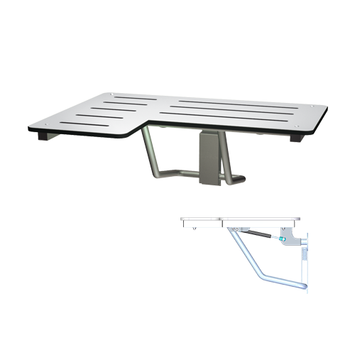 ASI 8206-SC-R Slow Close Folding Shower Seat, Solid Phenolic, White – L Shaped – Right Hand, Ada
