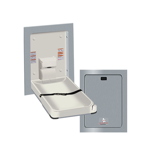 ASI 9017 Baby Changing Station, Vertical – Stainless Steel, Recessed