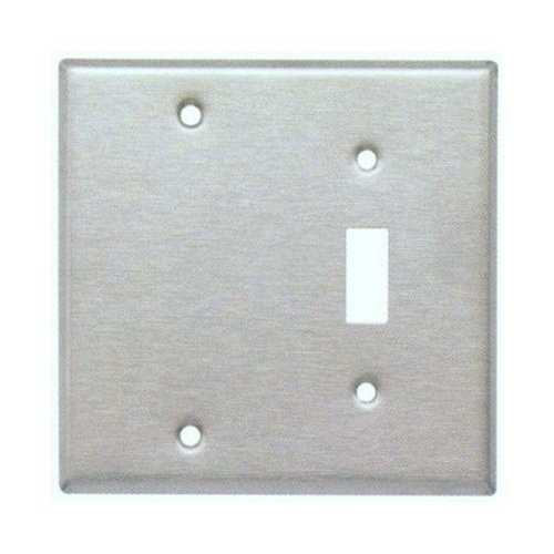 Morris 83410 430 Stainless Steel Wall Plates 2 Gang 1 Toggle 1 Blank