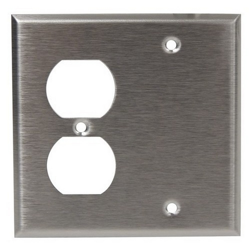 Morris 83540 430 Stainless Steel Wall Plates 2 Gang 1 Duplex 1 Blank
