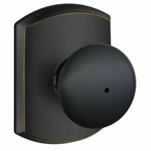 Schlage F40PLY622GRW Plymouth Knob with Greenwich Rose Privacy Lock with 16080 Latch and 10027 Strike Matte Black Finish