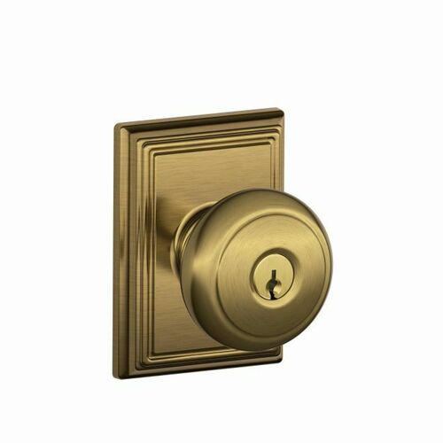 Schlage F51AAND609ADD Andover Knob with Addison Rose Keyed Entry Lock C Keyway with 16211 Latch and 10063 Strike Antique Brass Finish