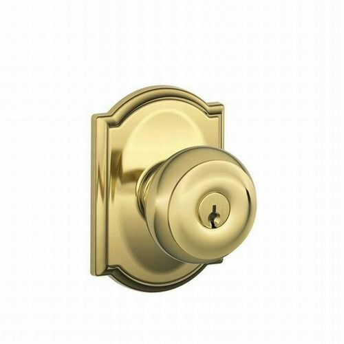 Schlage F51AGEO605CAM Georgian Knob with Camelot Rose Keyed Entry Lock C Keyway with 16211 Latch and 10063 Strike Bright Brass Finish