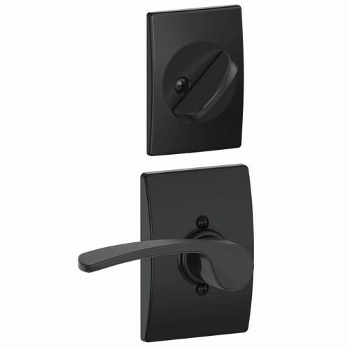 Schlage F59MER622CENRH Right Hand Merano Lever with Century Rose Interior Active Trim with 12326 Latch and 10269 Strikes Matte Black Finish